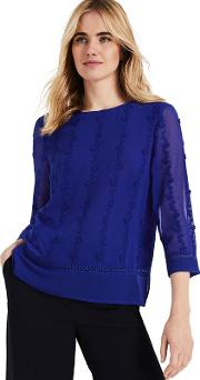Blue Leyla Embroidered Blouse
