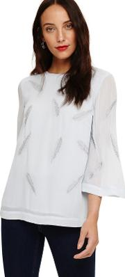 Blue Odette Embroidered Feather Blouse