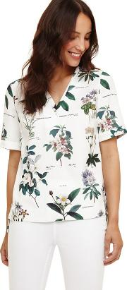 Cream Chrissy Botanical Print Blouse