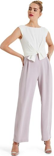 Cream Janey Knot Front Jumpsuit