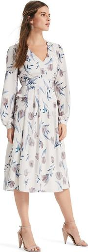 Cream Oyster Emanuella Floral Printed Midi Dress