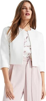 Cream Venita Shoulder Detail Cropped Jacket