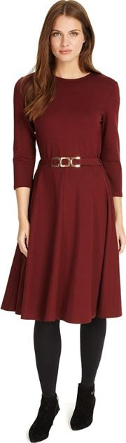 Dark Red Belted Ponte Swing Dress