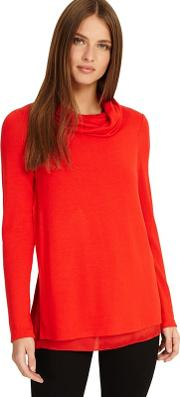 Flame Winnifred Woven Hem Cowl Neck Top