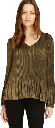 Gold Ella Foil Pleated Blouse