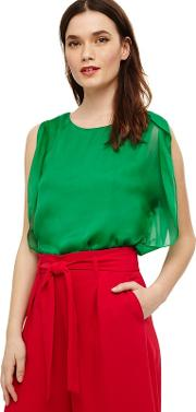 Green Angie Angel Sleeve Blouse