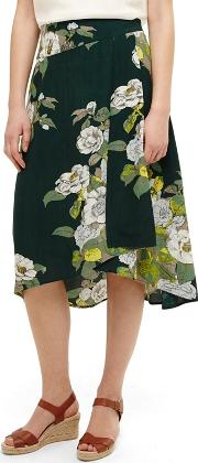 Green Chrissy Botanical Print Skirt