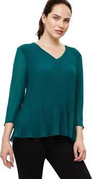 Green Ella Pleat Blouse