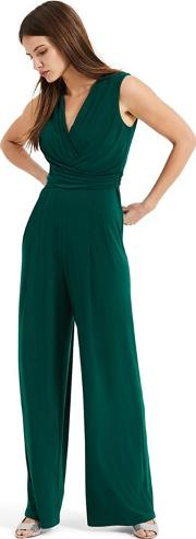 Green Isabelle Pleat Bodice Jumpsuit