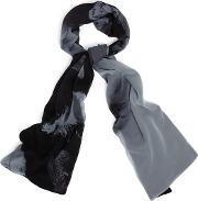 Grey And Black Elsie Feather Print Scarf