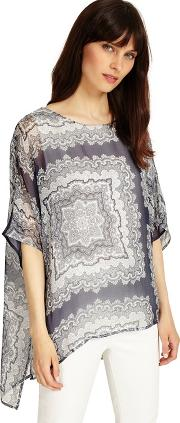 Grey And Ivory Paisley Print Silk Blouse