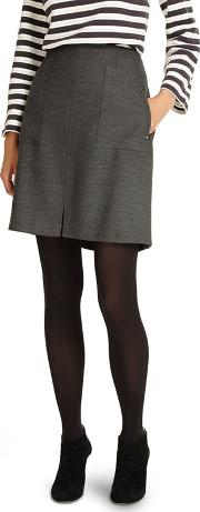 Grey And Navy Bernina Pocket Skirt