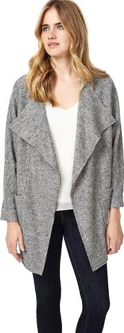 Grey Fausta Fleck Knitted Coat