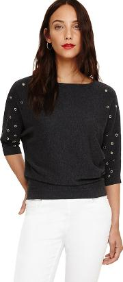 Grey Scattered Eyelet Cristine Jumper