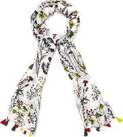 Multicoloured Chessie Bright Sketchy Floral Scarf