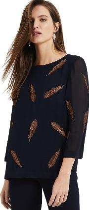 Navy And Bronze Odette Embroidered Feather Blouse