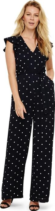 Navy And Ivory Dotty Jumpsuit