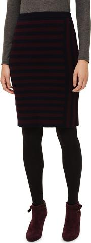 Navy And Port Stacey Fitted Stripe Skirt