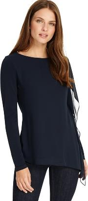 Navy Camille Chiffon Layer Top