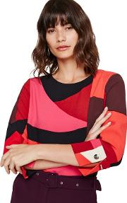 Red And Pink Xanthe Abstract Print Blouse
