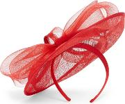 Red Oriana Bow Disc Fascinator
