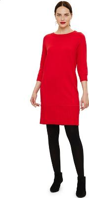 Red Shiloh Exposed Seam Knit Dress