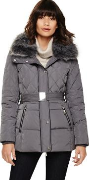 Slate Blue Deasia Short Diamond Puffer Coat