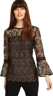 Tianna Metallic Lace Blouse