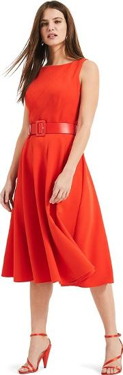 Vermilion Red Shona Belted Fit & Flare Dress