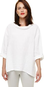 White Cowl Neck Linen Blouse