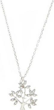 Silver Plated Crystal Tree Necklace