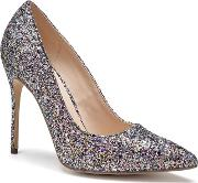 By Paradox London Black Glitter cosmic High Heel Court Shoes