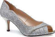 By Paradox London Gold Glitter carey Mid Heel Stiletto Peep Toe Shoes