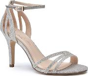 By Paradox London Gold Glitter melody High Heel Stiletto Ankle Strap Sandals