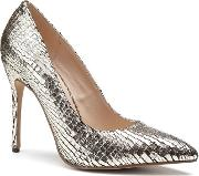 By Paradox London Gold Metallic Snake Print cairo High Heel Court Shoes