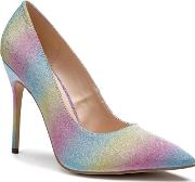By Paradox London Multicoloured Glitter cosmic High Heel Court Shoes
