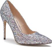 By Paradox London Silver Glitter cosmic High Heel Court Shoes