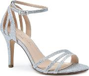 By Paradox London Silver Glitter melody High Heel Stiletto Ankle Strap Sandals