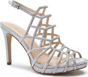 By Paradox London Silver Glitter stacia High Heel Platform Sandals