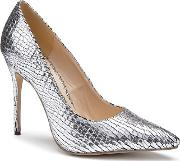 By Paradox London Silver Metallic Snake Print cairo High Heel Court Shoes
