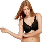 Black Lace Underwired Non Padded Full Cup Bra