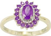 9ct Gold Amethyst And Diamond Ladies Cocktail Ring