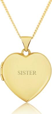 9ct Gold Ladies Love Heart Locket For 'sister'