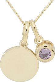 9ct Gold Plated On Silver Birthstone Coloured Stone Pendant