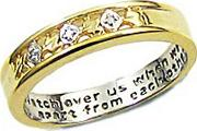 9ct Gold Plated On Sterling Silver Diamond Set Ladies Message Ring