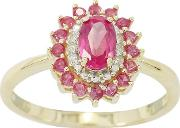9ct Gold Ruby And Diamond Ladies Cocktail Ring