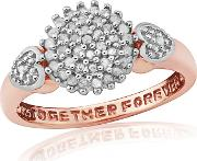 9ct Rose Gold Plated On Silver Diamond Message Ring
