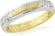 Silver, 9ct Gold Plate Diamond Set Daughter Ring