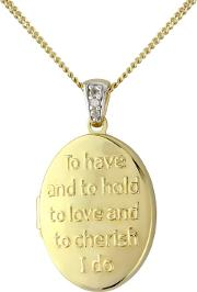 Silver, 9ct Gold Plated, Diamond message Locket