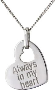 Silver always In My Heart Message Pendant